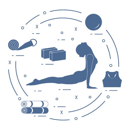 Woman yoga pose, bamboo and various tools for self-care, massage and relaxation. Healthy lifestyle. Design for banner and print. Illustration