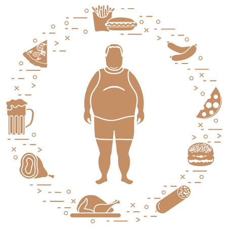 Fat man with unhealthy lifestyle symbols around him. Harmful eating habits. Design for banner and print. Illustration