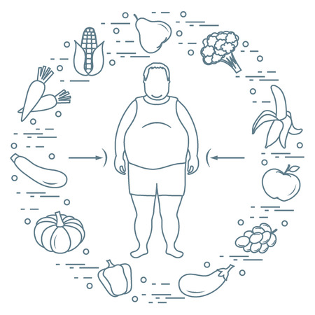 Fat man with healthy food around him. Healthy eating habits. Design for banner and print.