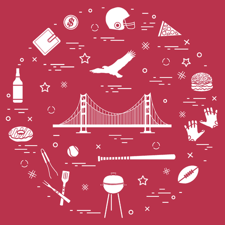 Symbols of USA: Golden Gate, suspension bridge and soaring eagle, whiskey, donut, wallet, dollar, helmet and gloves for american football, hamburger and other arranged in a circle.