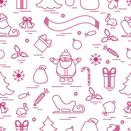 Winter seamless pattern with variety Christmas elements:  tree, balls, petard, scarf, Santa Claus, bell, gifts and other. Design for banner, flyer, poster or print.  Illustration