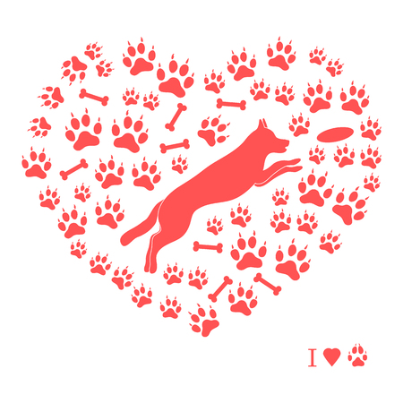 Nice picture of jumping dog silhouette on a background of dog tracks and bones in the form of heart on a white background. Illustration