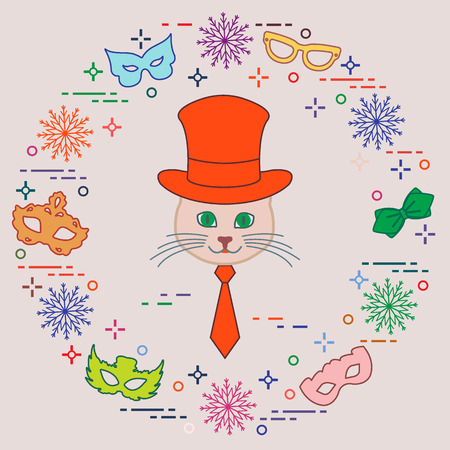 Muzzle of a cat in a cylinder hat and carnival masks, snowflakes, glasses, tie. Carnival festive concept. Costume for a party. Illustration