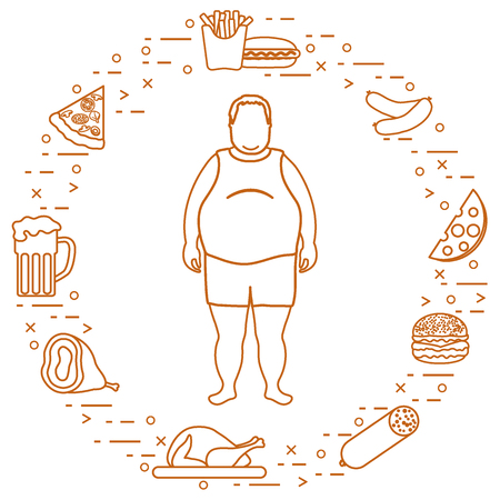 Fat man with unhealthy lifestyle symbols around him. Harmful eating habits. Design for banner and print. Иллюстрация
