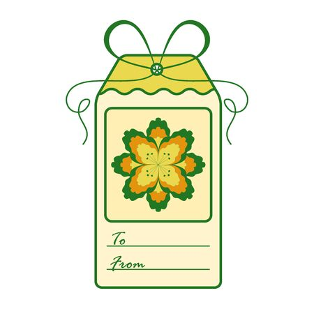Gift tag with flower and ribbon. Sale and shopping concept. Design for postcard, banner, poster or print.