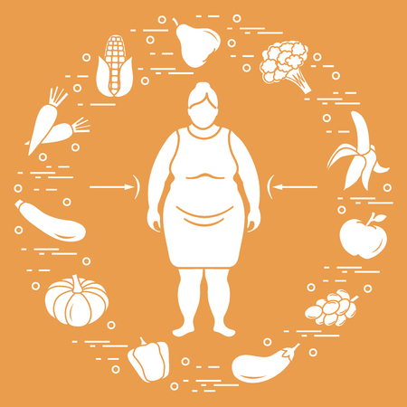 Fat woman with healthy food around her. Healthy eating habits. Design for banner and print. Illustration