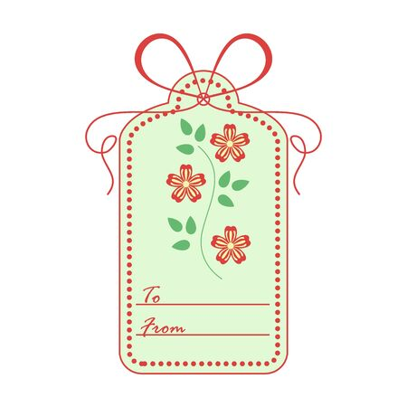 Gift tag with leaves and flowers and ribbon. Sale and shopping concept. Design for postcard, banner, poster or print.