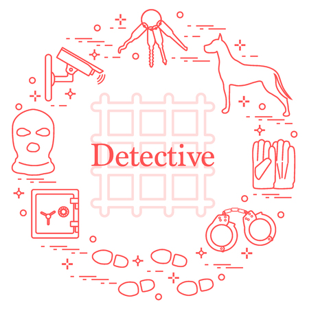 Criminal and detective elements vector icons.