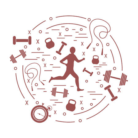 Vector illustration of the jogging man and different kinds of sports equipment arranged in a circle. Including icons of skipping rope, stopwatch, dumbbells and other. Ilustração