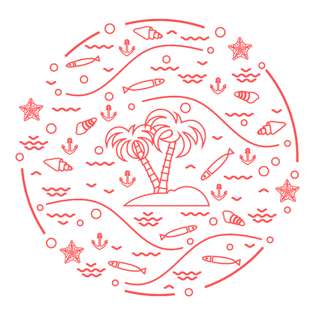 Cute vector illustration with fish, island with palm trees, anchor, waves, seashells and starfish arranged in a circle. Design for banner, poster or print.