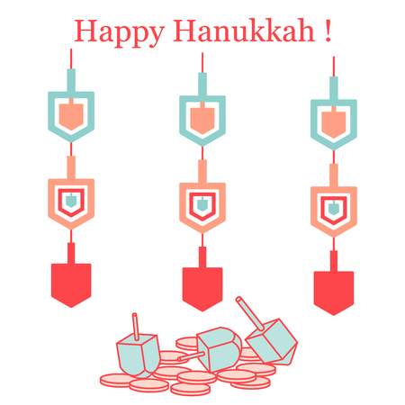 Jewish holiday Hanukkah: dreidel, coins and paper garland.