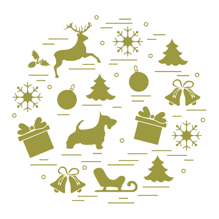 A different new year and Christmas symbols. Winter elements.