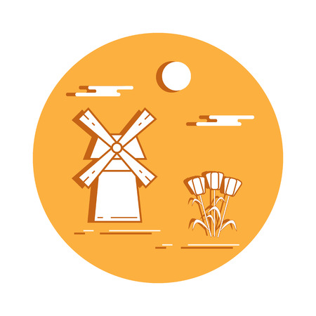 Illustration with symbols of Holland. Travel and leisure. Design for banner, poster or print.