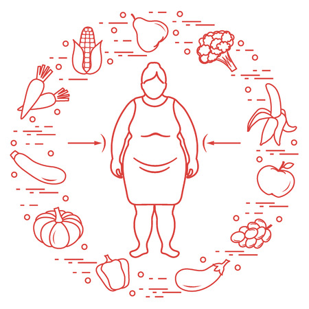 Fette Frau mit gesunden Speisen um ihn herum . Gesunde Essgewohnheiten . Design für Banner und Druck Standard-Bild - 90012851