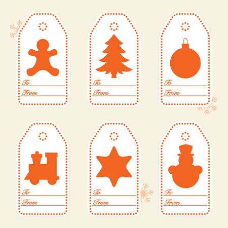 Gift tags with new year and christmas symbols with ribbon. Design for postcard, banner, poster or print. Illustration