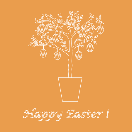 Cute vector illustration with Easter eggs decorated tree. Design for banner, poster or print.