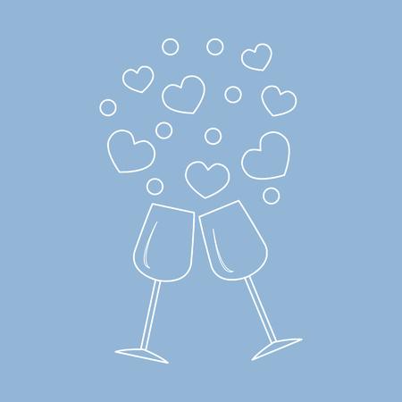 Leuke vectorillustratie van twee stemware met harten. Ontwerp voor banner, flyer, poster of print. Wenskaart Valentijnsdag.