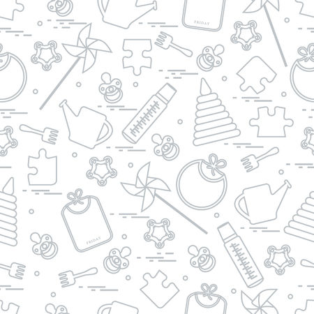 Cute seamless pattern with variety children's goods and toys: bibs, pinwheel, baby bottles, dummy, pyramid and other. Design for poster or print. Vectores