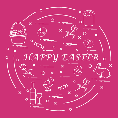 Cute vector illustration with different symbols for Easter arranged in a circle. Including icons of Easter cake, chick, baskets, eggs and other. Design for banner, poster or print.
