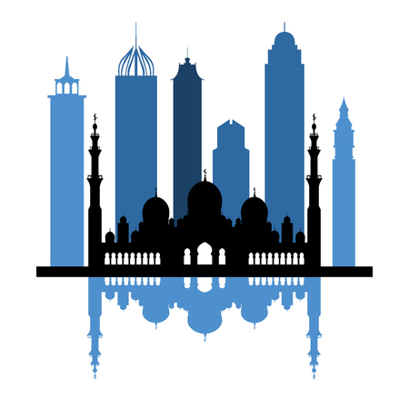 Vector illustration of United Arab Emirates skyscrapers silhouette. Dubai and Abu dhabi buildings. Design for banner, poster or print. Vettoriali