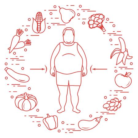 Dicker Mann mit gesundem Essen um ihn herum. Gesunde Essgewohnheiten. Design für Banner und Druck. Standard-Bild - 90002496