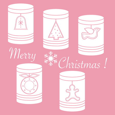 Jars for different products with Christmas and New Year tags: �hristmas tree, bell, bird, �hristmas wreath, gingerbread man.