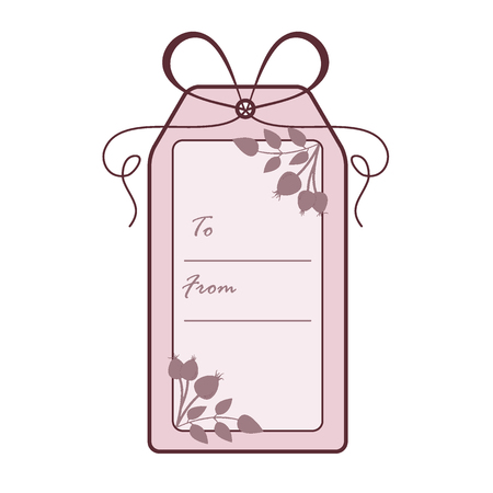 Gift tag with branch of rosehip. Sale and shopping concept. Design for postcard, banner, poster or print.