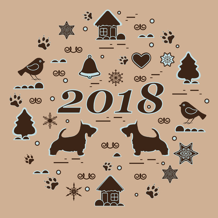 Cute vector illustration of different new year and Christmas symbols arranged in a circle. Winter elements made in line style. Design for postcard, poster or print.