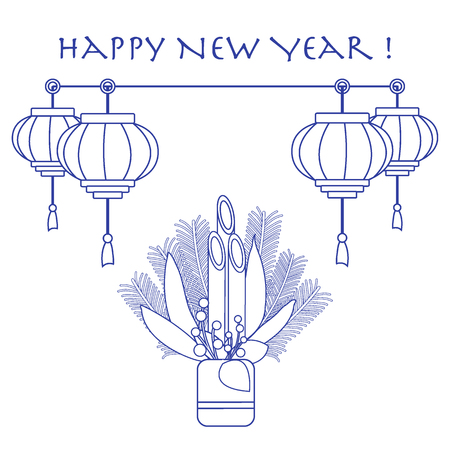 East new year home decorations kadomatsu and chinese lanterns. Design for banner, poster or print.