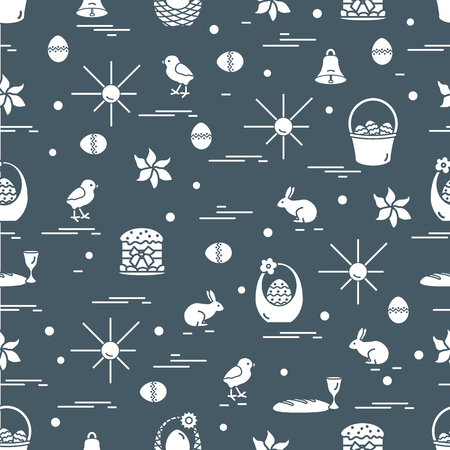 Cute seamless pattern with different symbols for Easter. Design for banner, poster or print.