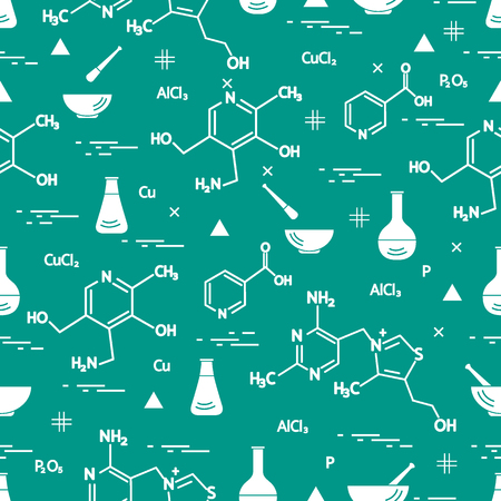 Seamless pattern with variety scientific, education elements: flask, formula, pestle and other. Design for banner, poster or print.