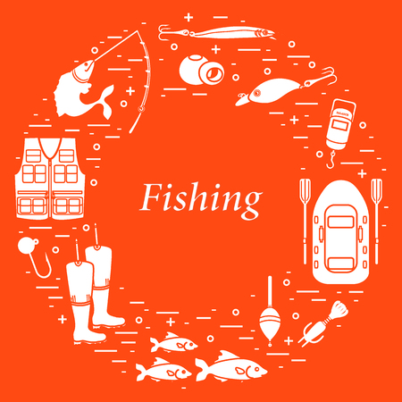 Different tools for fishing arranged in a circle. Template for your design, banner, poster or print.