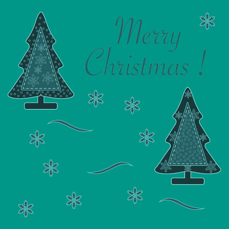Cute vector illustration of stitched Christmas tree decorated with snow and snowflakes. Card for winter holidays. Template for design, greeting card, invitation.