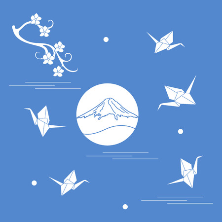 Branch of cherry blossoms, mount Fuji and origami paper cranes. Set of Japan traditional design elements. Illustration