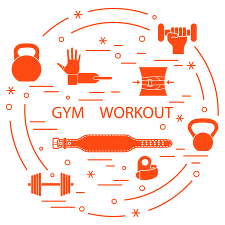 Powerlifting gym workout elements arranged in a circle. Template for your design, banner, poster or print.