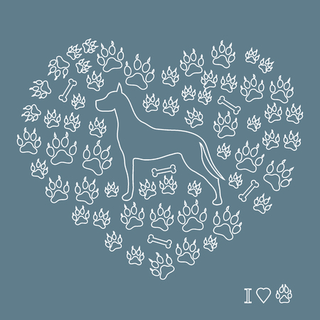 Nice picture of great Dane silhouette on a background of dog tracks and bones in the form of heart on a colored background. Vettoriali