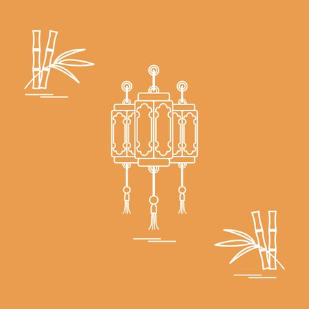 Chinese lanterns and bamboo. Travel and leisure. Design for banner, poster or print. Illustration