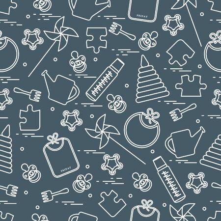 Padrão bonito sem costura com variedade de produtos para crianças e brinquedos: babadores, pinwheel, biberões, manequins, pirâmide e outros. Design para poster ou impressão. Foto de archivo - 90450346