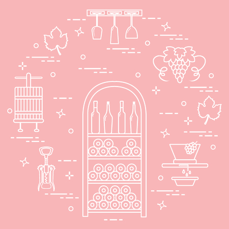 Winemaking: the production and storage of wine. Culture of drinking wine. Design for announcement, advertisement, print. 矢量图片