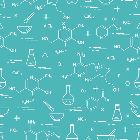 Seamless pattern with variety scientific, education elements: flask, formula, pestle and other. Design for banner, poster or print. Stok Fotoğraf - 90590554