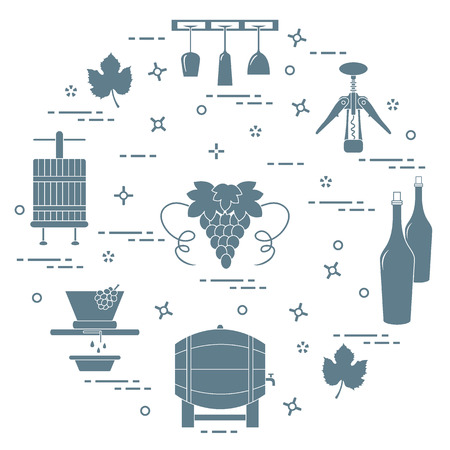 Winemaking: the production and storage of wine. Culture of drinking wine. Design for announcement, advertisement, print. 일러스트