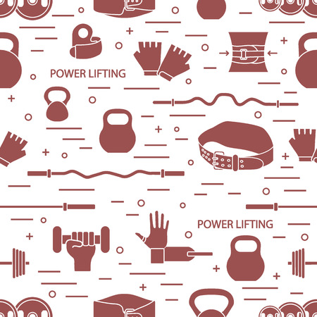 スポーツをテーマにベクトル パターン。重量挙げのための異なった商品です。スポーツ パターンのシリーズ。