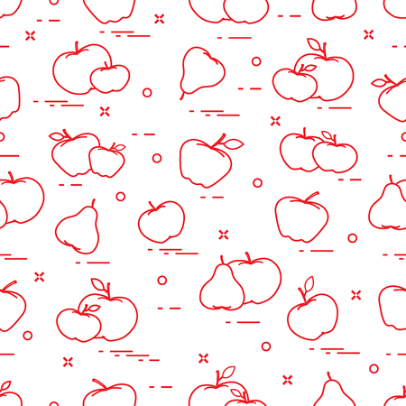 Apples and pears juicy fruit. Seamless pattern. Design for announcement, advertisement, banner or print.