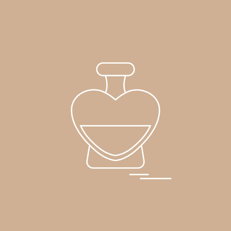 Cute vector illustration of perfume bottle in the shape of heart. Design for banner, flyer, poster or print. Greeting card Valentine's Day.