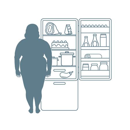 Fat woman stands at the fridge full of food. Harmful eating habits. Design for banner and print. Ilustração