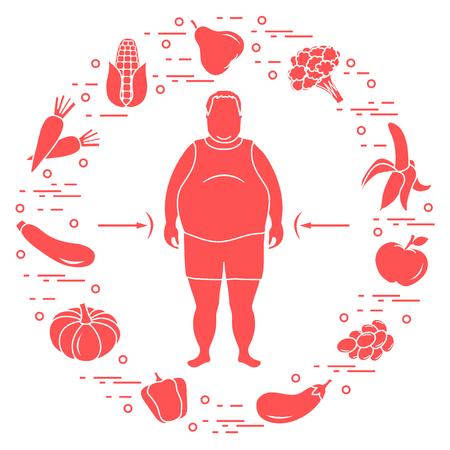 Dicker Mann mit gesundem Essen um ihn herum. Gesunde Essgewohnheiten. Design für Banner und Druck. Standard-Bild - 90512735