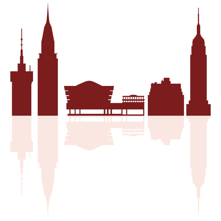 Silhouettes of modern buildings and  Solomon R.Guggenheim Museum in the USA. Travel theme. Illustration