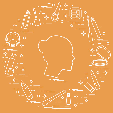 Silhouette of female head and various accessories for the application of decorative cosmetics. Glamour fashion vogue style. Illustration