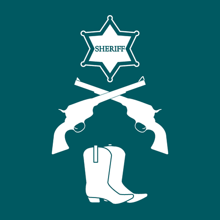Illustration of sheriff star, revolvers and cowboy boots. Wild West collection. Cowboy stuff. Illustration