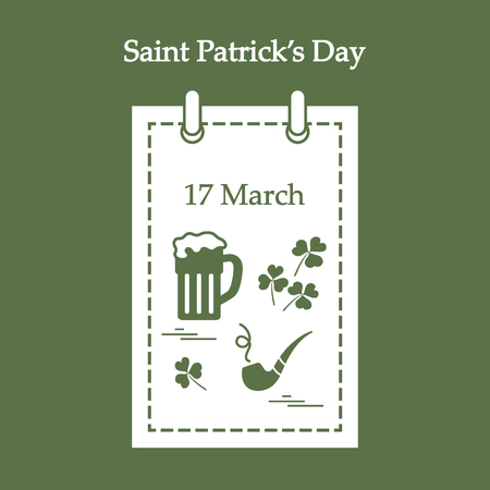 Cute vector illustration: calendar with a beer, clover, tobacco pipe for St. Patrick's Day. Design for banner, poster or print.